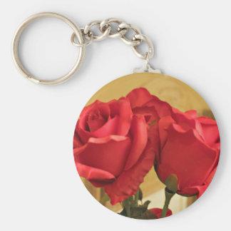 Fake plastic roses basic round button keychain