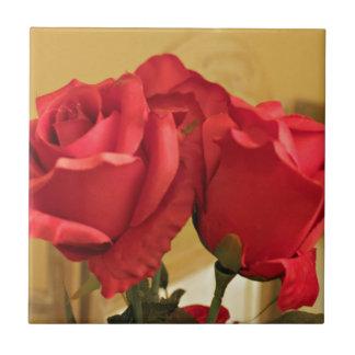 Fake plastic roses ceramic tile