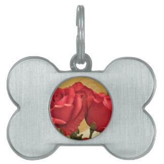 Fake plastic roses pet name tags