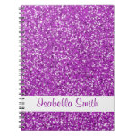 Fake Purple Sparkling Glitter  And Name Notebook