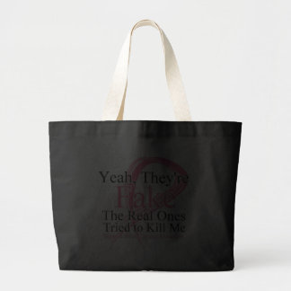 Fake - Real Ones Tried to Kill Me - Breast Cancer Canvas Bag