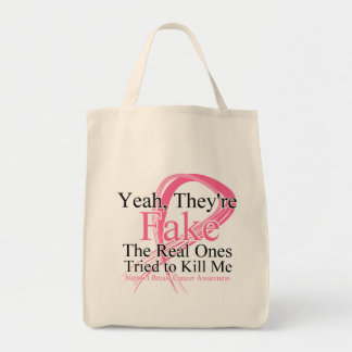 Fake - Real Ones Tried to Kill Me - Breast Cancer Tote Bag