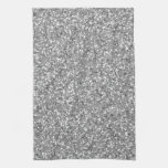 Fake Silver Sparkling Glitter Pattern Kitchen Towels