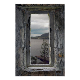 Fake Stone Window with View of Loch Poster