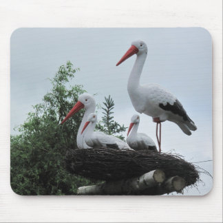 Fake Stork Family in the Nest Photo Mouse Pad