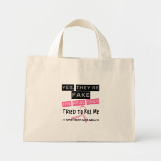 Fake The Real Ones Tried To Kill Me Breast Cancer Canvas Bag