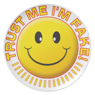 Fake Trust Me Smile Party Plate