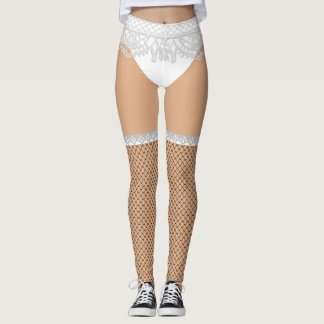 Fake Underwear & Fishnet Stockings | Naughty Nurse Leggings