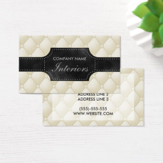 Fake White And Black Tufted Leather Business Card