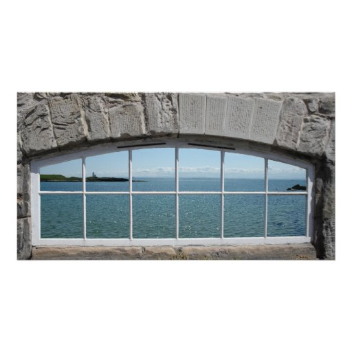 Fake Window Arch with View of Sparkling Sea Poster