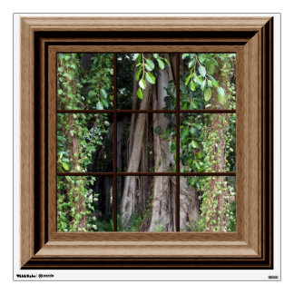 Fake Window Decal Relaxing View Trees Wall Mural
