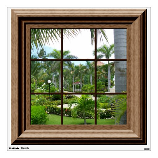 Fake Windows For Walls : Fake window decal tropical landscape wall mural