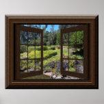Fake Window Poster Peaceful Landscape Zen