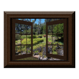 Fake Window Poster Peaceful Landscape Zen