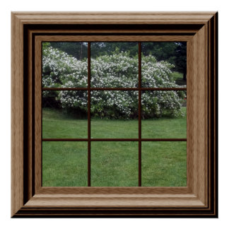 Fake Window Poster Peaceful Lawn Floral Bushes