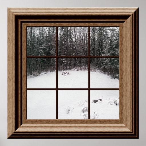 Fake Window Poster Winter Snow Scene With Trees Zazzle