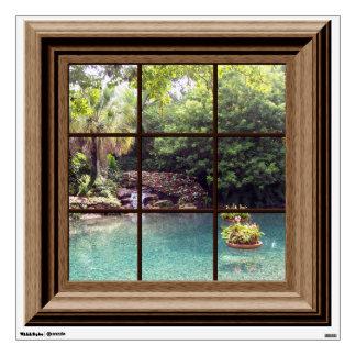 Fake Window Scene Peaceful Water Garden Zen Peace Wall Stickers