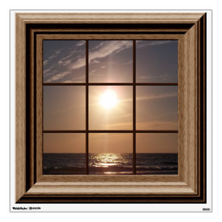 Fake Window View Beach Sunset Ocean Wall Decal