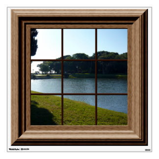 Fake Window View Lake Landscape Mural Wall Decal