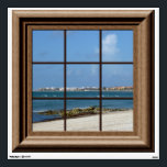 """Fake Window View Ocean Beach Mexico Wall Decal<br><div class=""""desc"""">Features a  faux wood framed window with a view of the beach.  For more fake window posters and decals visit the rest of this shop.</div>"""