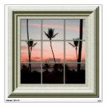 Fake Window View Palm Trees Sunset Beach Wall Decal