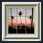 """Fake Window View Palm Trees Sunset Beach Wall Decal<br><div class=""""desc"""">Features a  faux wood framed window with a view of palm trees on a beach in the setting sun.  For more faux window murals visit the rest of this shop.</div>"""