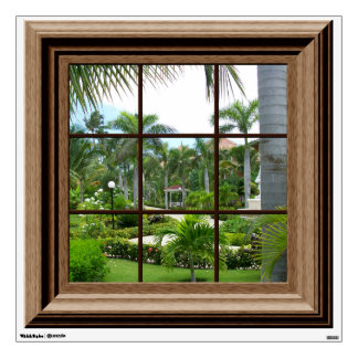 Fake Window View Relaxing Tropical Landscape Wall Sticker