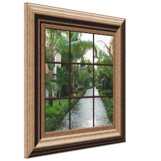 Fake Window View Tropical Walkway Peaceful Scene Canvas Print