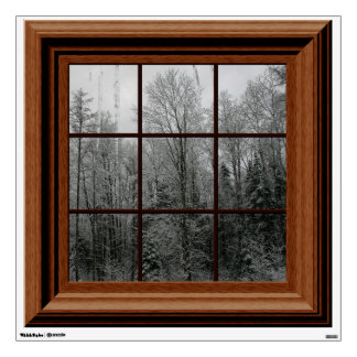 Fake Window View Winter Snow Scene Trees Icicles Wall Sticker