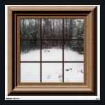 """Fake Window View Winter Snow Scene Trees Wall Decal<br><div class=""""desc"""">Faux window overlooking a winter snow scene. For more fake window posters and wall decals visit the rest of this shop.</div>"""