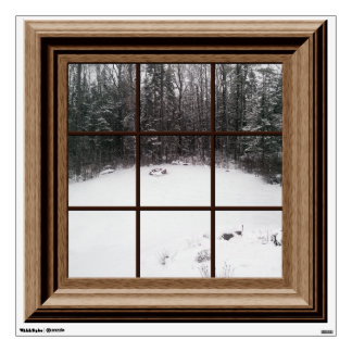 Fake Window View Winter Snow Scene Trees Wall Decal