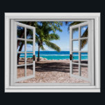 "Fake Window With Palm trees on Beach Ocean View Poster<br><div class=""desc"">Tropical palm trees ocean view,  fake window scene,  for a windowless office. Very realistic landscape optical illusion poster that would look great on an office or study wall.</div>"