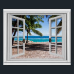"""Fake Window With Palm trees on Beach Ocean View Poster<br><div class=""""desc"""">Tropical palm trees ocean view,  fake window scene,  for a windowless office. Very realistic landscape optical illusion poster that would look great on an office or study wall.</div>"""
