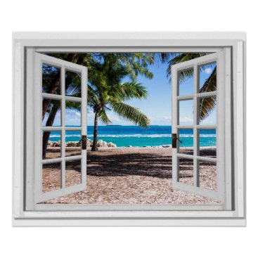 Beach Themed Fake Window With Palm trees on Beach Ocean View Poster