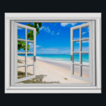 "Fake Window With Tropical Beach Ocean View Poster<br><div class=""desc"">Tropical ocean view,  fake window scene,  for a windowless office. Very realistic landscape optical illusion poster that would look great on an office or study wall.</div>"