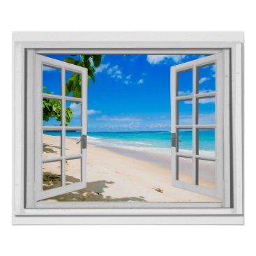 Beach Themed Fake Window With Tropical Beach Ocean View Poster