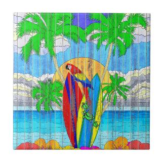 Fake Wood Grain Coastal Surf Art Tile