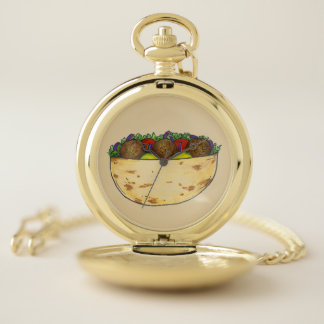 Falafel Pita Sandwich Mediterranean Food Foodie Pocket Watch
