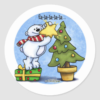Falala Beary Christmas Bear Classic Round Sticker