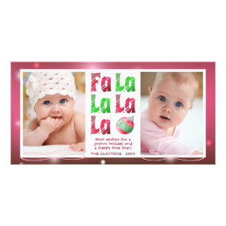 FaLaLa Watercolor Brush, Red & Green, 2 Photo Card