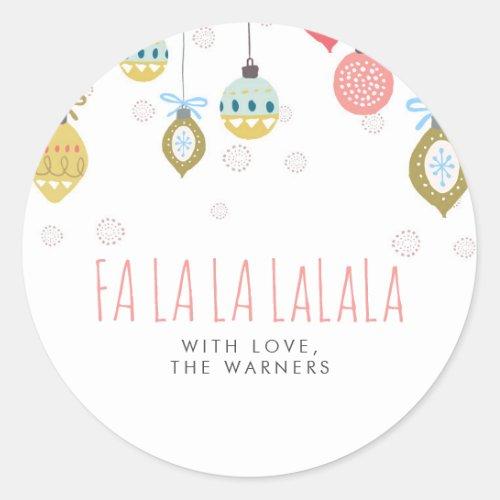 Falalala Christmas Classic Round Sticker