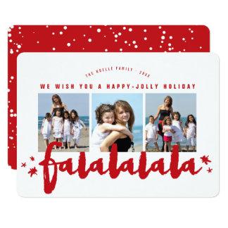 Falalalala Brush Stars Holiday Photo Collage Card