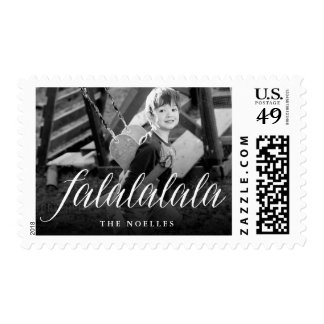 Falalalala Fun Simple Script Holiday Photo Stamps