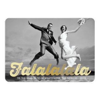 FaLaLaLaLa Gold Christmas Photo Holiday Greetings 5x7 Paper Invitation Card