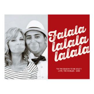 FaLaLaLaLa Red Christmas Photo Holiday Postcard