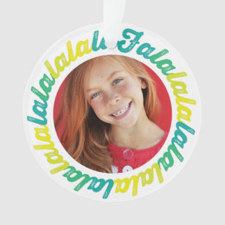 Falalalala Script Christmas Holiday Photo Ornament