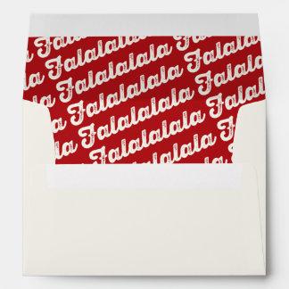 FaLaLaLaLa Script Red Christmas Holiday Envelope
