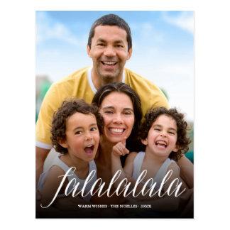 Falalalala Simple Script Holiday Photo Postcard