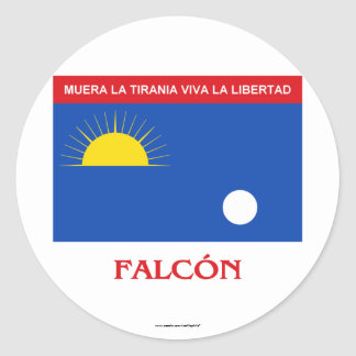 Falcón Flag with Name Classic Round Sticker