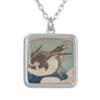 Falcon in flight by Katsushika Hokusai Square Pendant Necklace